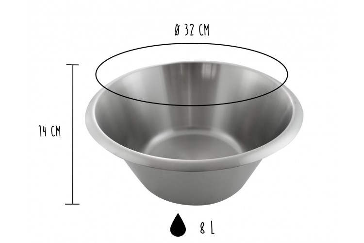 Bassine pâtissière professionnelle Matfer 100% acier inox - Diamètre 32cm