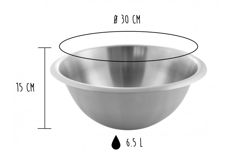 Cul de poule professionnel Matfer 100% acier inox - Diamètre 30cm