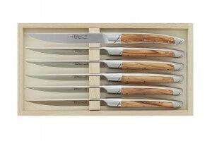 Coffret 6 couteaux de table Avantage Le Thiers Goyon-Chazeau manches olivier