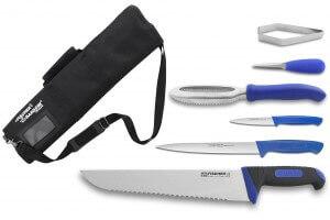 Mallette du poissonnier Fischer Bargoin 6 couteaux et ustensiles