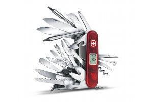 Couteau suisse Victorinox SWISSCHAMP XAVT rouge translucide 91mm 83 fonctions