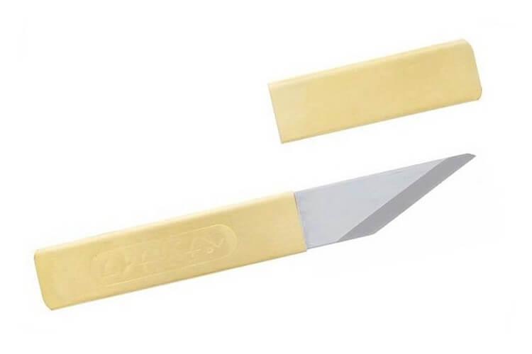 Couteau de poche Higonokami Kiri 659 acier Blue Steel manche laiton 7cm + étui