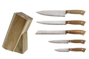 Bloc en acacia 5 couteaux de cuisine Pradel Excellence manches à rivets