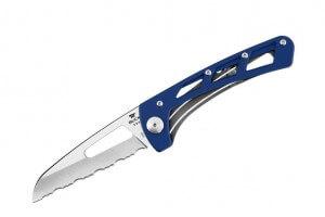 Couteau pliant BUCK VERTEX n°418BLX à dents manche bleu 9.5cm