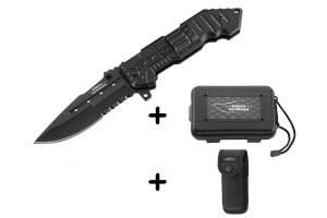 Couteau pliant Herbertz Top Collection 521112 noir 12cm semi-dentelé
