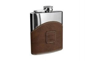 Flasque inox gainée façon cuir avec bouchon baïonnette - 180ml