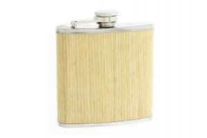 Flasque inox gainée façon hêtre avec bouchon baïonnette - 180ml