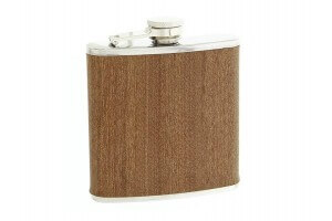 Flasque inox gainée façon sapelli avec bouchon baïonnette - 180ml