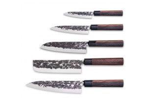 Set de 5 couteaux de cuisine 3 Claveles Osaka forgés main style japonais