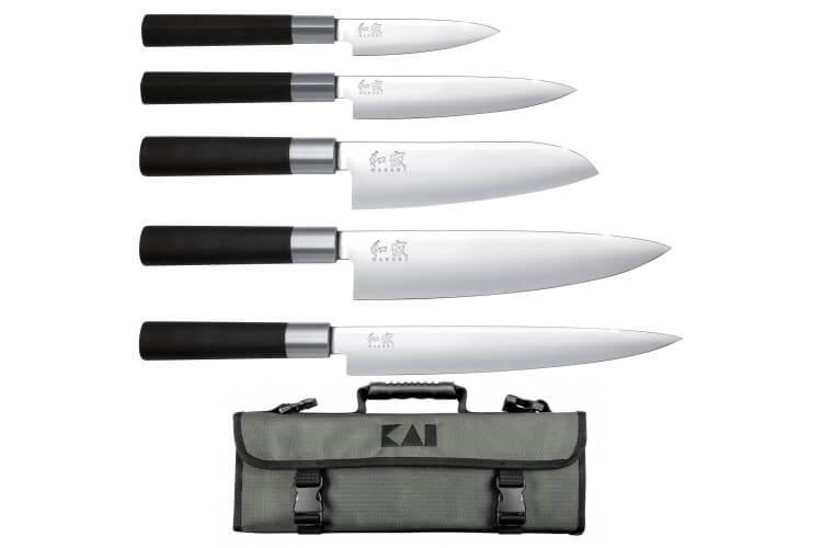 Mallette 5 couteaux japonais KAI Wasabi Black EURO
