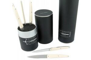 Coffret 6 couteaux de table Laguiole G. DAVID 23cm inox et acrylique crème