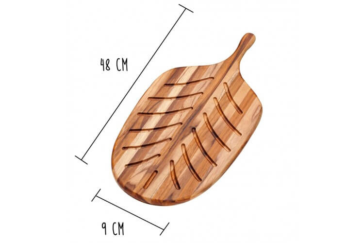 Planche à pain Teak Haus Canoe Collection en Teck écologique 48x9cm