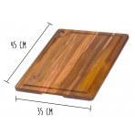 Planche à découper rectangulaire Teak Haus en Teck écologique avec rigole pour le jus 45x35cm