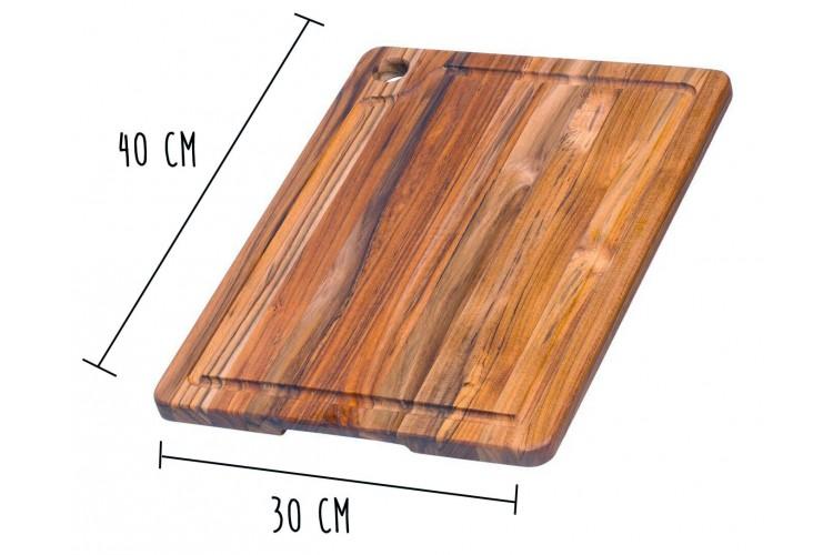 Planche à découper rectangulaire Teak Haus en Teck écologique avec rigole 40x30cm