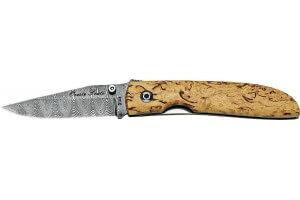 Couteau pliant FOX 2499DB lame damas manche bouleau 11cm en coffret