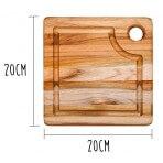 Planche à découper carrée Teak Haus en Teck écologique avec rigole 20x20cm