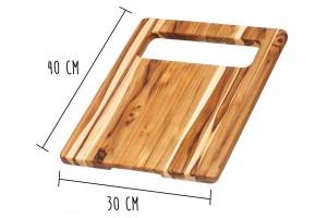 Planche à découper Teak Haus en Teck écologique avec large poignée intégrée 40x30cm