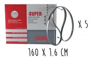 Boîte 5 lames dentées FISCHER Super acier suédois 160cm pour scie électrique à ruban largeur 16mm
