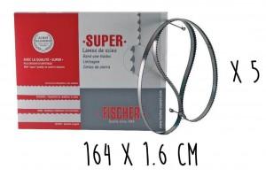 Boîte 5 lames dentées FISCHER Super acier suédois 164cm pour scie électrique à ruban largeur 16mm