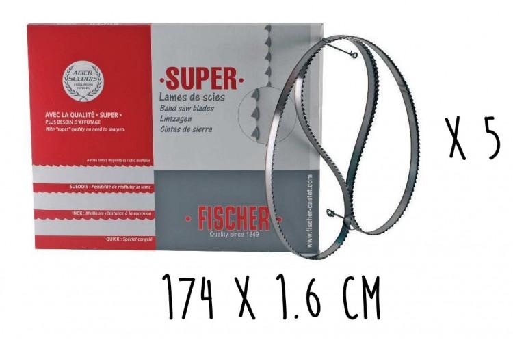 Boîte 5 lames dentées FISCHER Super acier suédois 174cm pour scie électrique à ruban largeur 16mm