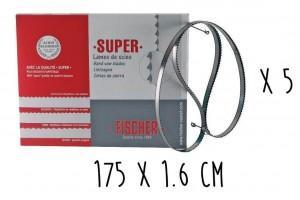 Boîte 5 lames dentées FISCHER Super acier suédois 175cm pour scie électrique à ruban largeur 16mm