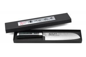 Couteau santoku japonais Satake Helios 17cm damas 69 couches