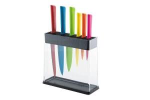 Bloc transparent 6 couteaux de cuisine Kuhn Rikon COLORI+ multicolores
