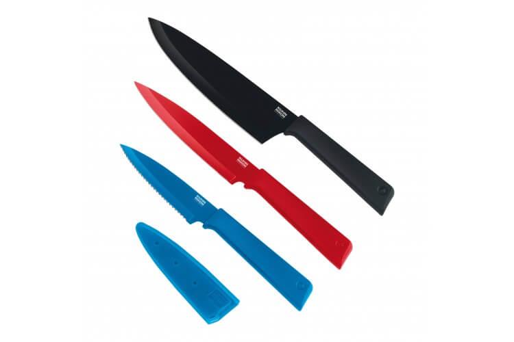 Set 3 couteaux de cuisine Kuhn Rikon COLORI+ revêtement multicolore