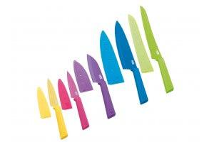 Set 5 couteaux de cuisine Kuhn Rikon COLORI+ revêtement multicolore + étuis