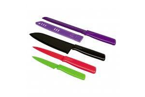 Set 4 couteaux de cuisine Kuhn Rikon COLORI1 revêtement multicolore + étuis