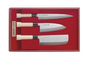Coffret 3 couteaux japonais JAKU : Nakiri + Deba + Sashimi