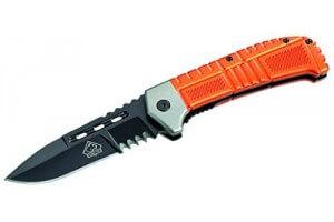 Couteau pliant Puma Tec 380912 denté manche métal léger orange 11.5cm