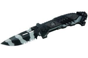 Couteau pliant Puma Tec 323312 lame à dents camouflage + fonctions secours 12cm