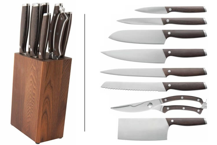 Bloc en bois Berghoff Essentials 7 couteaux + 1 sécateur à volaille