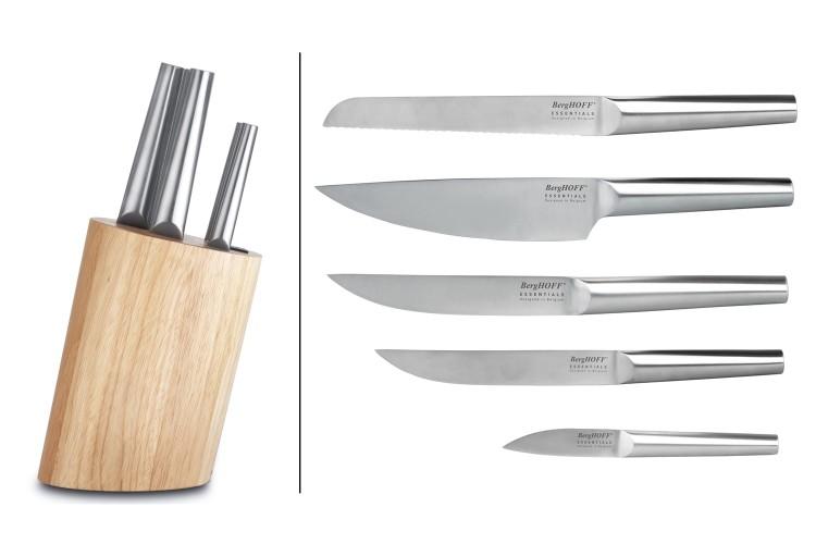 Bloc en bois Berghoff Essentials 5 couteaux tout inox monocoque