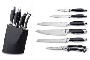 Bloc en bois noir Berghoff Essentials 5 couteaux + 1 sécateur à volaille