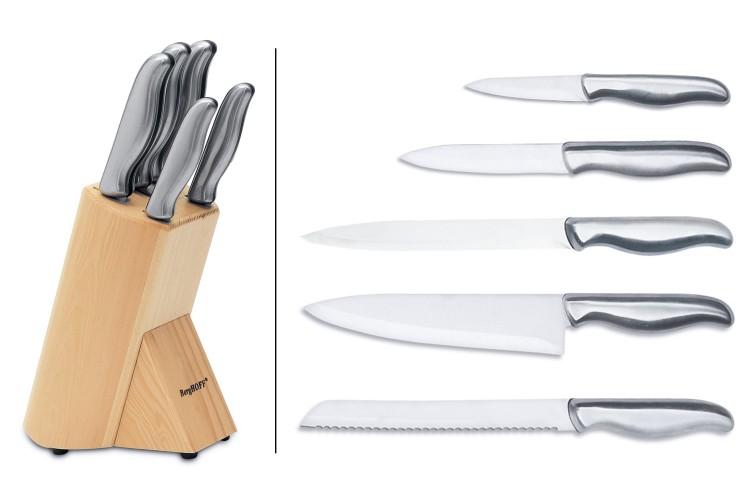Bloc en bois Berghoff Essentials 5 couteaux tout inox
