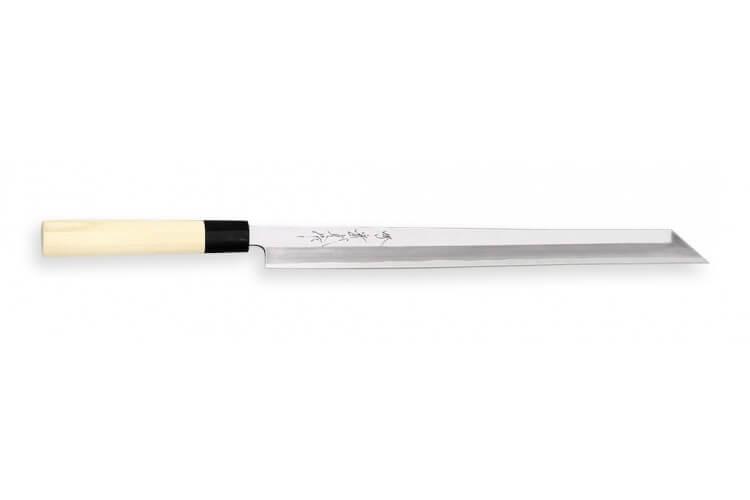 Couteau Takohiki Kiritsuke japonais artisanal JIKKO Jyousaku White 2 Steel manche magnolia
