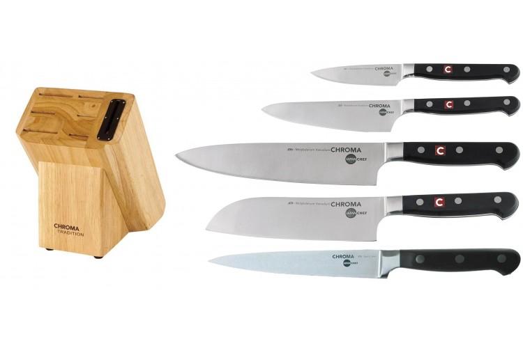 Bloc 5 couteaux Japan Chef Chroma avec aiguiseur intégré