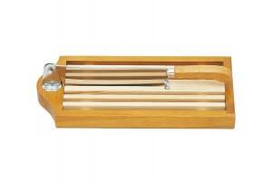 Couteau à pain sur socle claie amovible lame 25cm inox