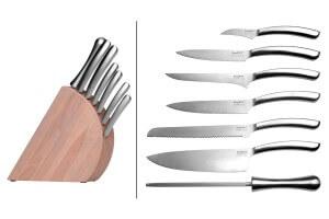 Bloc en bois Berghoff Essentials 6 couteaux + 1 fusil à aiguiser