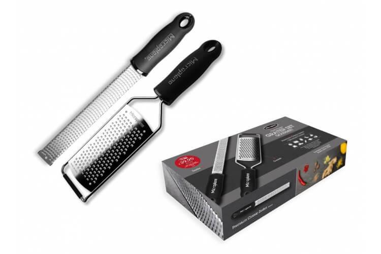 Coffret cadeau Microplane râpe Premium Classic + Gourmet gros grains noir