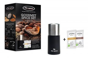 Coffret cadeau Microplane moulin à épices 2 en 1 + 2 sachets d'épices