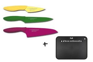 Set de 3 couteaux KAI Purekomachi 2 + 1 planche à découper souple