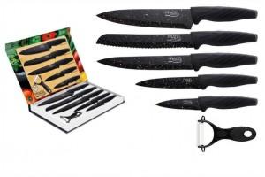 Coffret 5 couteaux Pradel Evolution lame revêtement façon pierre noire + 1 éplucheur