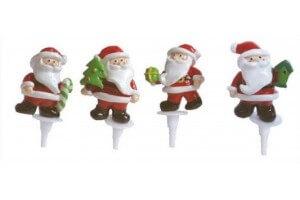 Boîte de 48 décors pour bûche 4 Pères Noël assortis 3.5cm