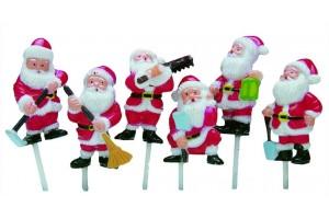 Boîte de 72 décors pour bûche 6 Pères Noël assortis 4cm