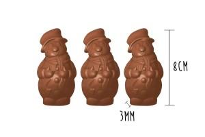 Plaque de 3 moules à chocolat - Bonhomme de neige 8cm