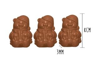 Plaque de 3 moules à chocolat - Ourson Noel 8cm