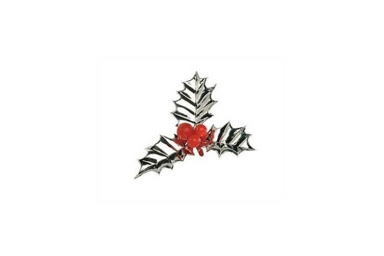 Boîte de 72 décors pour bûche feuilles de houx argentées 6cm